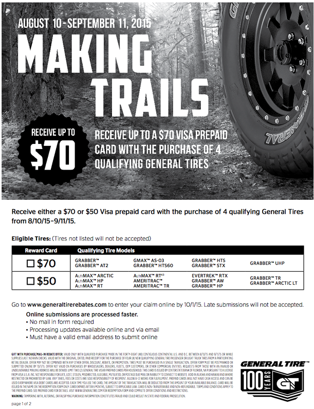 general tire rebate form september 2015