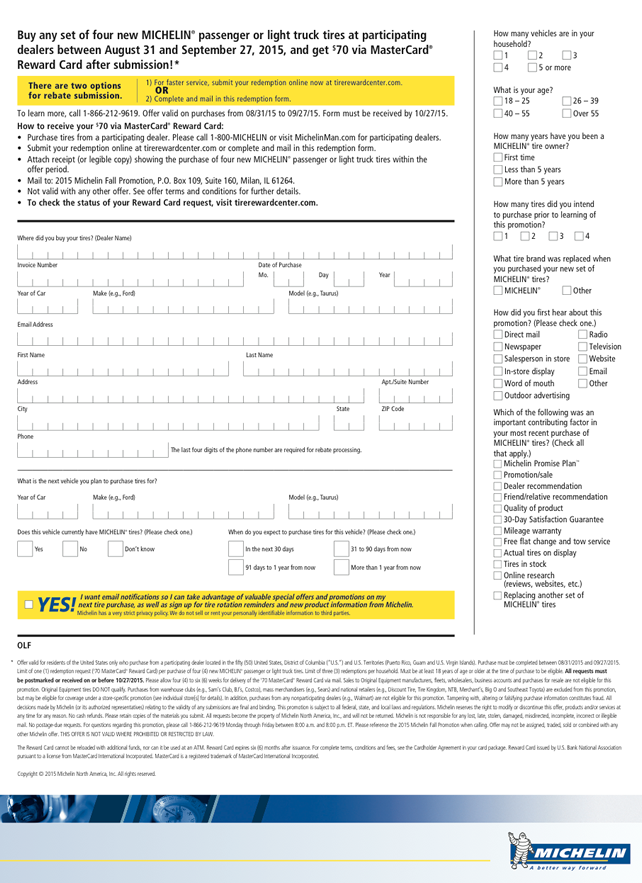 michelin tire rebate form tirerack september 2015